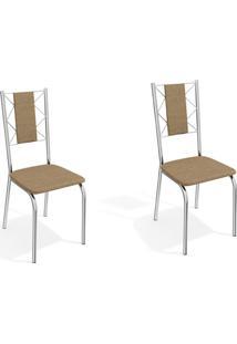 Conjunto Com 2 Cadeiras De Cozinha Lisboa Cromado E Capuccino