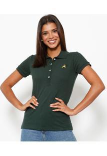 Polo Em Piqu㪠Com Botãµes- Verde & Douradaclub Polo Collection