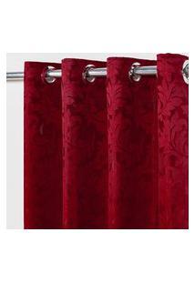 Cortina Em Tecido Jacquard 4,00 M X 2,70 M - Vermelho