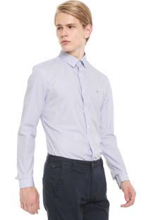 Camisa Calvin Klein Reta Estampada Branca
