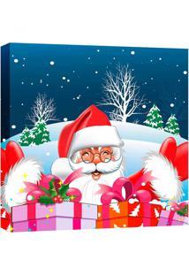 Quadro Impressão Digital Papai Noel Vermelho 30X30Cm Uniart