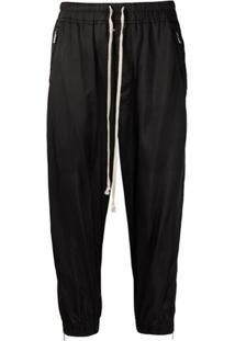 Rick Owens Calça Cropped Com Zíper No Tornozelo - Preto