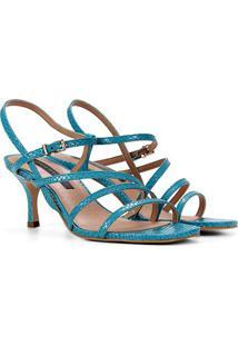Sandália Couro Jorge Bischoff Multi Tiiras Feminina - Feminino-Azul Turquesa