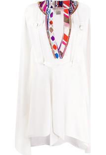Emilio Pucci Vestido Kaftan Com Cinto - Branco