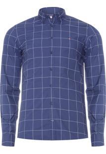 Camisa Masculina Slim Printed Windowpane - Azul