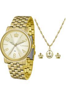 Kit De Relógio Analógico Lince Feminino + Brinco + Colar - Lrg4555L Kv02C2Kx Dourado