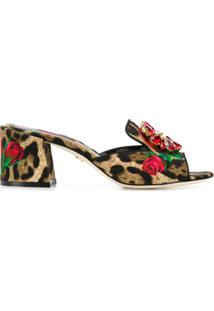 Dolce & Gabbana Sandália De Couro Com Estampa Floral - Neutro