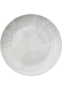 Prato De Sobremesa Baoba Em Porcelana- Branco & Cinza Clfull Fit