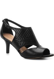Sandália Couro Shoestock Salto Fino New Matelassê Feminina - Feminino-Preto
