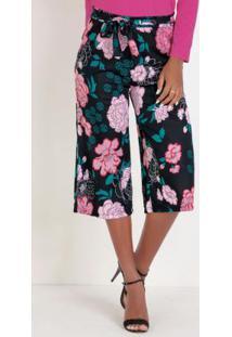 Calça Pantacourt Floral Com Amarração Na Cintura