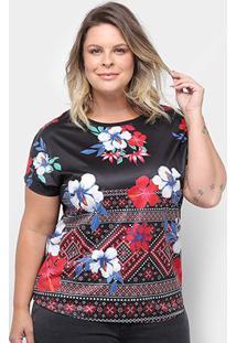 Blusa Lemise Plus Size Flores Feminina - Feminino-Preto
