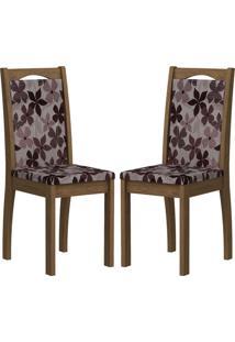Cadeira Lívia Mdf 02 Unidades Savana/Floral Bordô Cimol