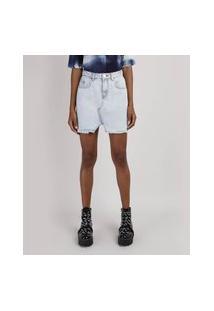 Saia Jeans Feminina Com Recorte E Barra Desfiada Azul Claro