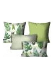 Kit Com 4 Capas Para Almofadas Floral Verde Kit Com 4