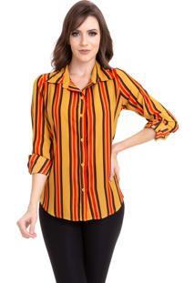 Camisa Kinara Crepe Chiffon Listras Manga Martingale Amarelo