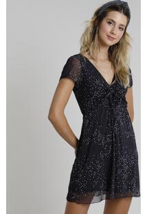 Vestido Feminino Curto Em Tule Estampado De Poá Com Amarração Manga Curta Preto