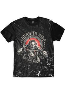 Camiseta Bsc Motoqueiros Nascido Para Andar Sublimada Masculina - Masculino-Preto