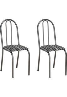Conjunto 2 Cadeiras Éos Cromo Preto E Preto Listrado
