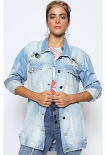 Jaqueta Jeans Destroyed- Azuldimy