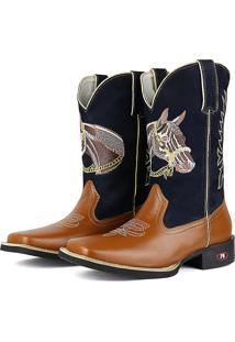Bota Country Texana Sapatofran Quadrado Cara De Cavalo Azul-Marinho