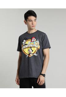 Camiseta Masculina Animaniacs Manga Curta Gola Careca Cinza Mescla Claro