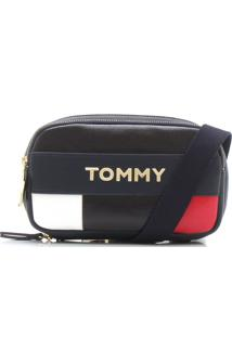 Bolsa Couro Tommy Hilfiger Color Block Preta