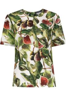 Dolce & Gabbana Blusa Estampada Mangas Curtas - Verde