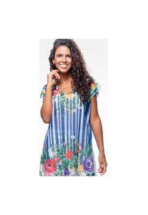Blusa 101 Resort Wear Saida De Praia Estampada Crepe Listras Flor