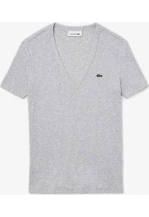 Camiseta Lacoste Slim Fit Cinza