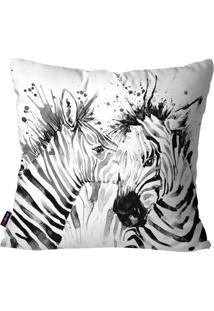 Capa De Almofada Decorativa Avulsa Branco Zebras 45X45Cm Pump Up - Branco - Dafiti
