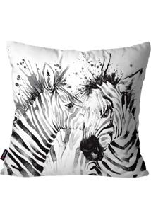 Capa De Almofada Decorativa Avulsa Branco Zebras 45X45Cm Pump Up