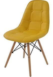 Cadeira Eames Eiffel Botone Amarela Base Madeira - 27464 - Sun House