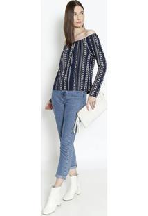 Blusa Ciganinha Com Elástico - Azul Marinho & Brancarovitex