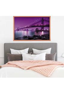 Quadro Love Decor Com Moldura Ponte Iluminada Rose Metalizado Grande
