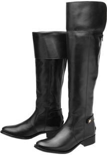 Bota Encinas Leather Montaria Over Knee Preta