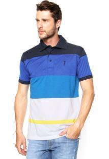 Camisa Polo Aleatory Listras Azul