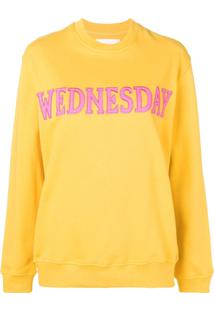 Alberta Ferretti Blusa De Moletom Wednesday Com Patch - Amarelo