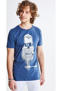 Camiseta Estampa Caveira Cachimbo
