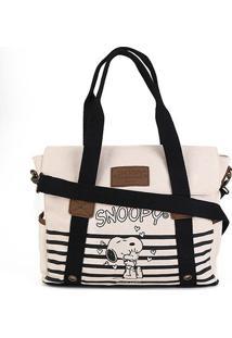 Bolsa Snoopy Tote Bag Grande Feminina - Feminino-Preto