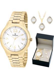 Relógio Champion Feminino Com Colar E Brincos Cn20499W