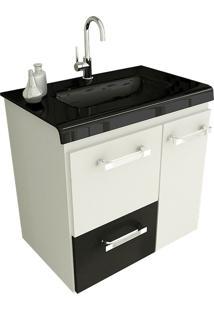 Gabinete Para Banheiro 60 Cm Com 2 Peças Vetro 13 Branco E Preto Tomdo