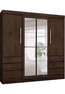 Guarda-Roupa Casal Com Espelho Malta 4Pt Imbuia