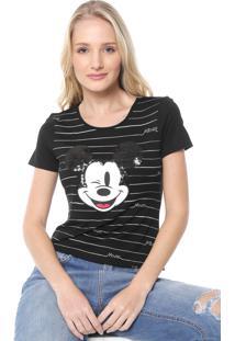 Blusa Cativa Disney Mickey Paetê Preta