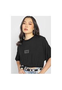 Camiseta Cropped Colcci Tag Preta