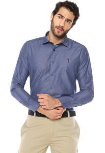 Camisa Aleatory Slim Logo Azul