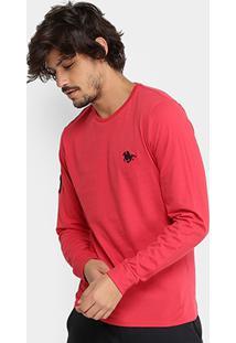 Camiseta Rg 518 Básica Manga Longa Com Bordado Masculina - Masculino-Vermelho