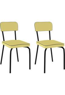 Conjunto Com 2 Cadeiras Vinil Supreme Preto E Amarelo
