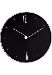 Relógio De Parede Metalizado- Preto & Branco- Ø30X4Cmart