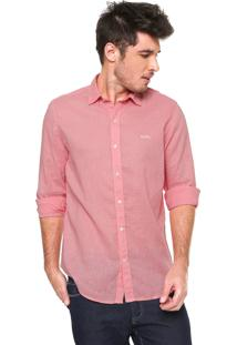 Camisa Linho Von Dutch Regular Fit Básica Rosa