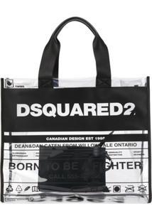 Dsquared2 Bolsa Tote Transparente Com Estampa De Logo - Branco